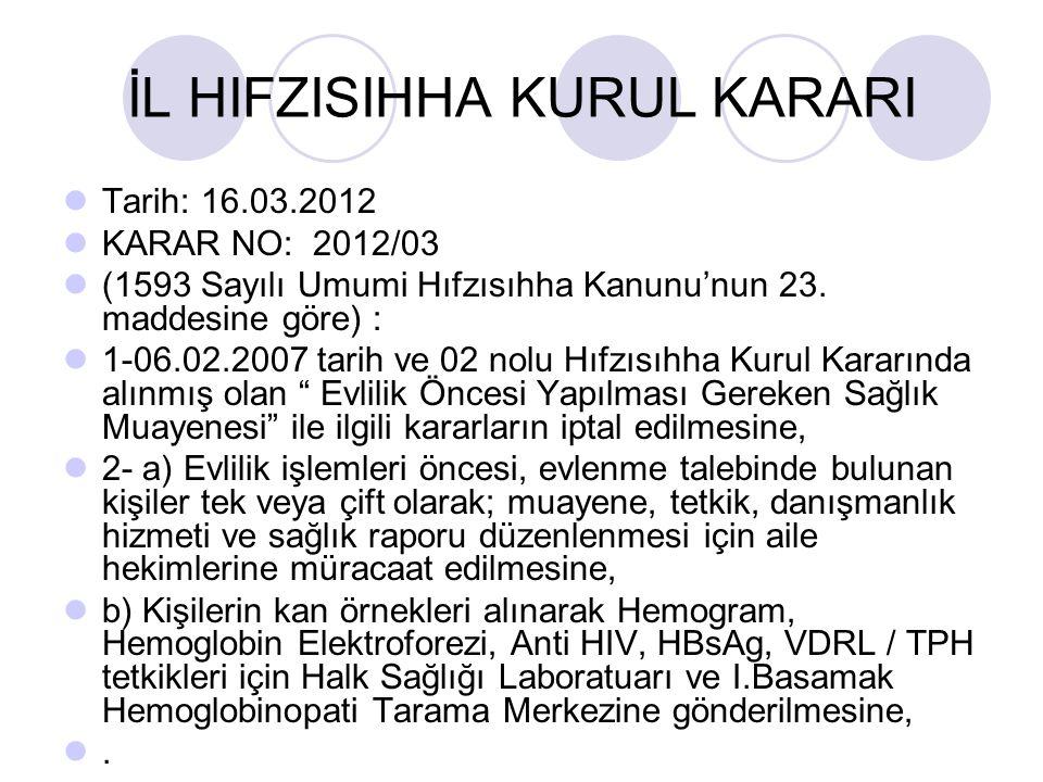 İL HIFZISIHHA KURUL KARARI