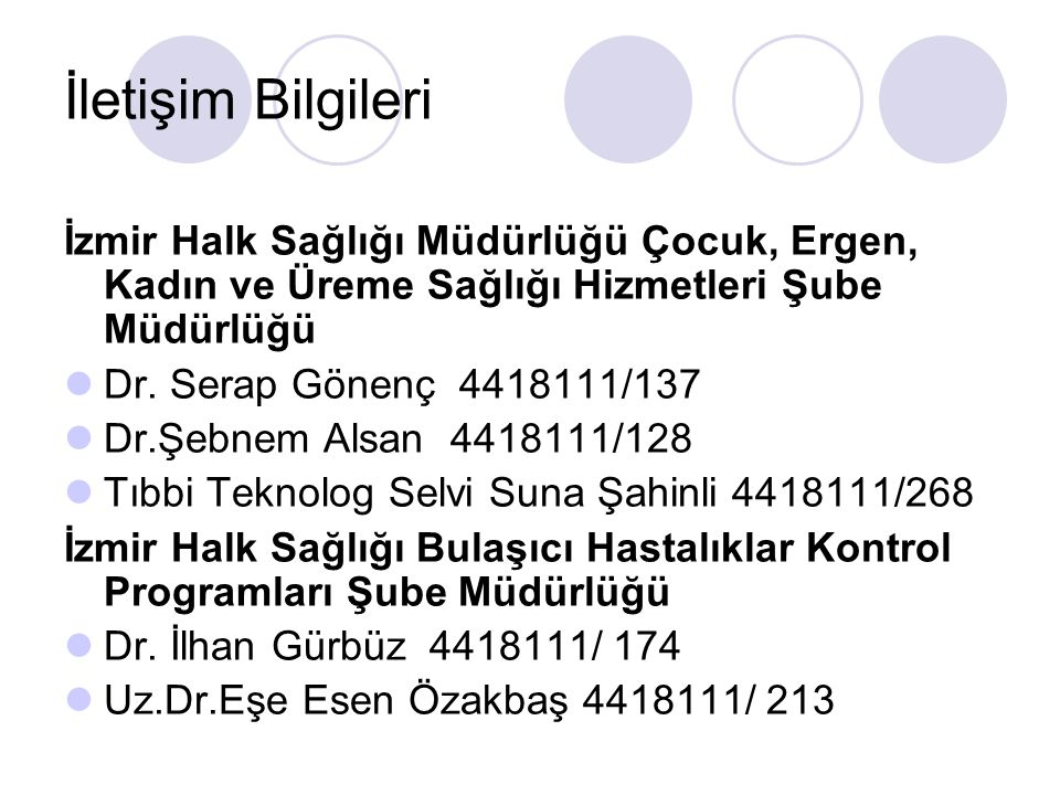 İletişim Bilgileri İzmir Halk Sağlığı Müdürlüğü Çocuk, Ergen, Kadın ve Üreme Sağlığı Hizmetleri Şube Müdürlüğü.