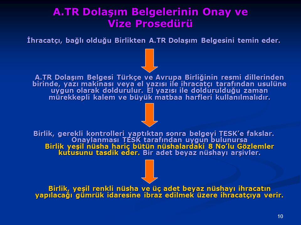 A.TR Dolaşım Belgelerinin Onay ve Vize Prosedürü