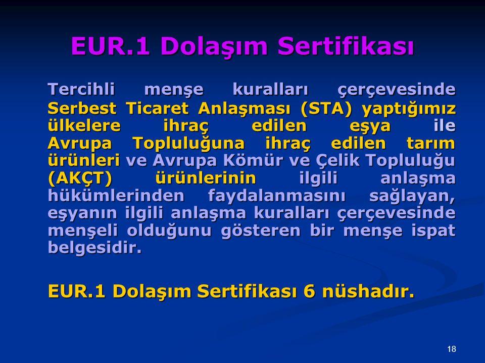 EUR.1 Dolaşım Sertifikası