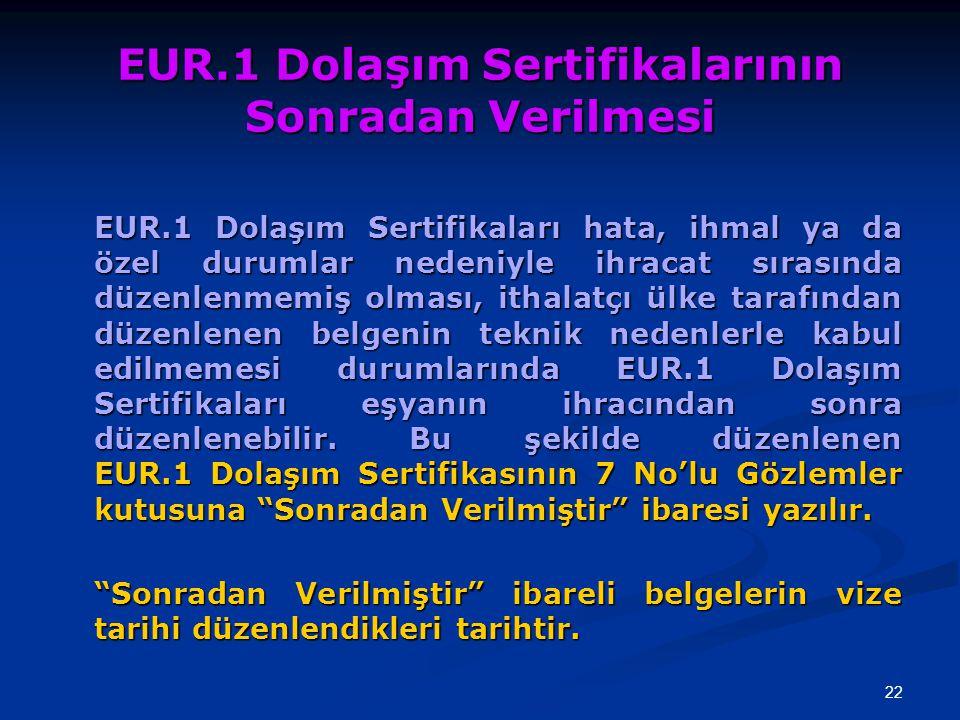 EUR.1 Dolaşım Sertifikalarının Sonradan Verilmesi