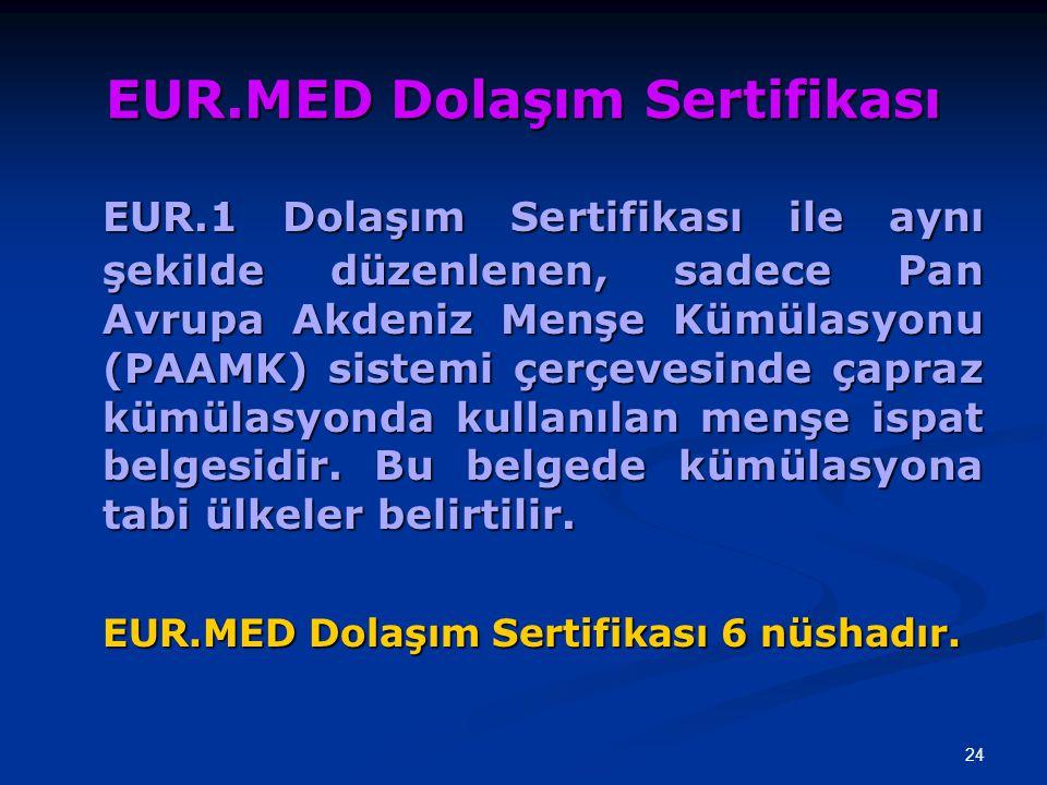 EUR.MED Dolaşım Sertifikası