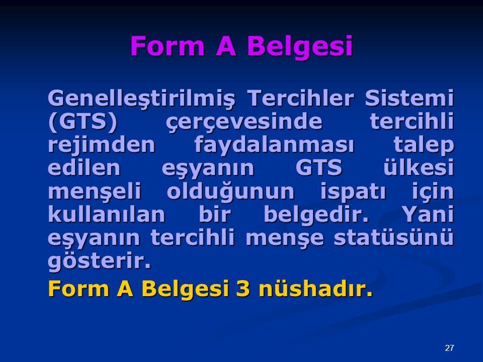 Form A Belgesi