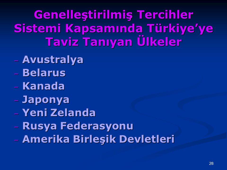 Genelleştirilmiş Tercihler Sistemi Kapsamında Türkiye'ye Taviz Tanıyan Ülkeler