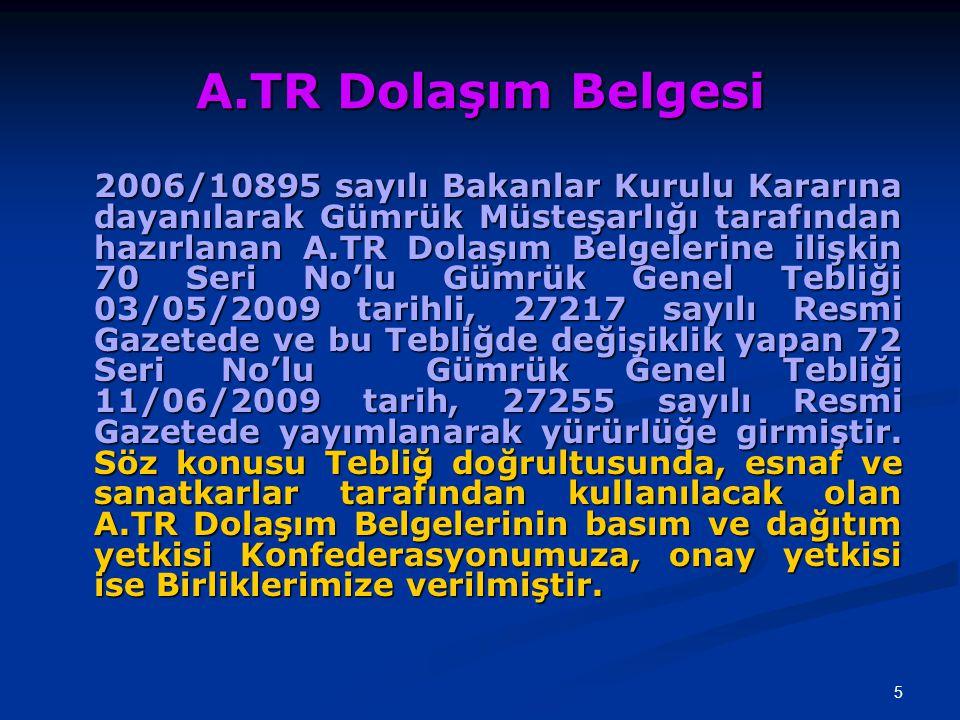 A.TR Dolaşım Belgesi