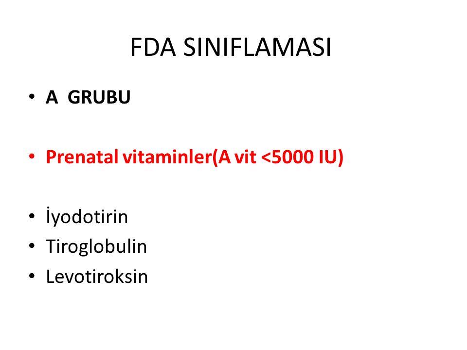 FDA SINIFLAMASI A GRUBU Prenatal vitaminler(A vit <5000 IU)
