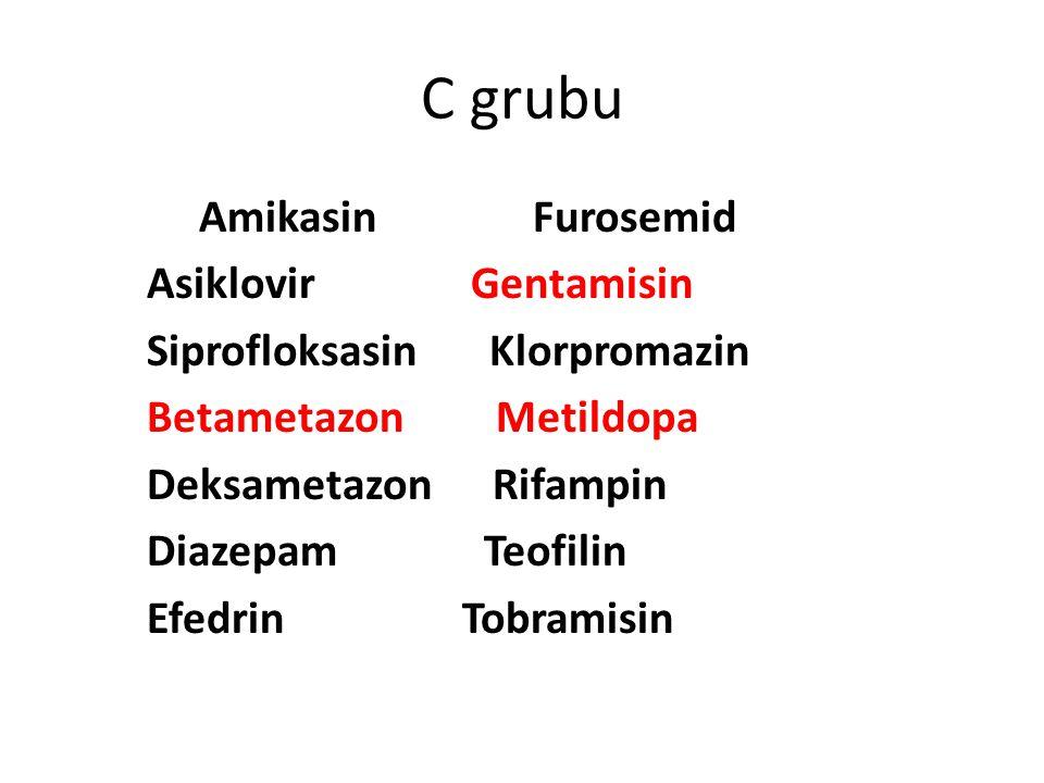 C grubu Amikasin Furosemid Asiklovir Gentamisin
