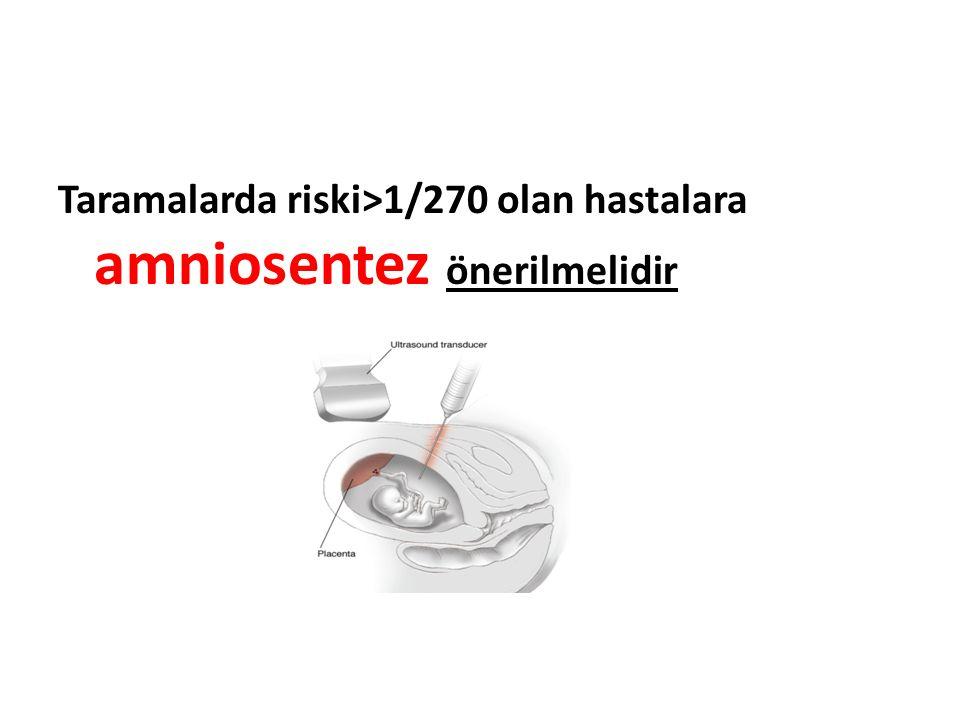 Taramalarda riski>1/270 olan hastalara amniosentez önerilmelidir