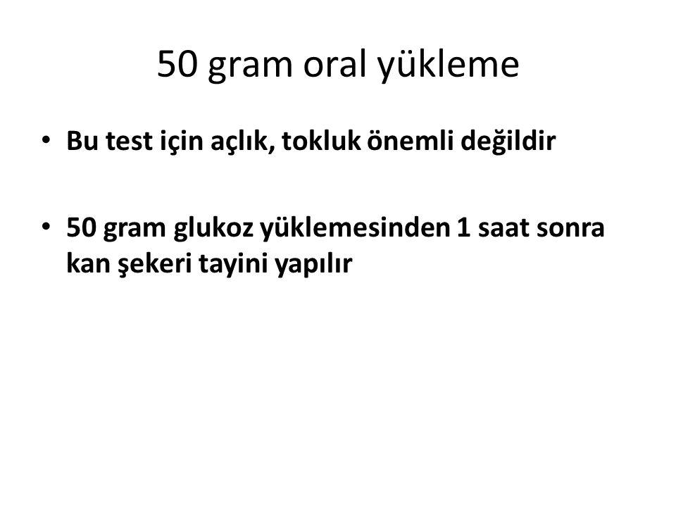 50 gram oral yükleme Bu test için açlık, tokluk önemli değildir