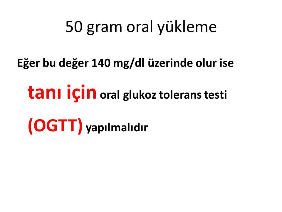 50 gram oral yükleme Eğer bu değer 140 mg/dl üzerinde olur ise tanı için oral glukoz tolerans testi (OGTT) yapılmalıdır.