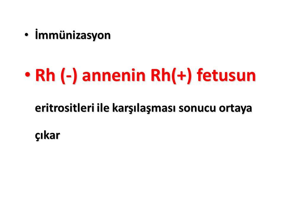 İmmünizasyon Rh (-) annenin Rh(+) fetusun eritrositleri ile karşılaşması sonucu ortaya çıkar