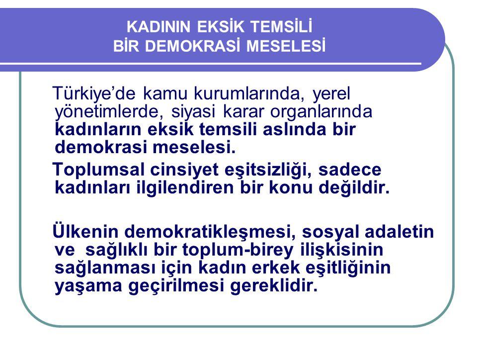 KADININ EKSİK TEMSİLİ BİR DEMOKRASİ MESELESİ