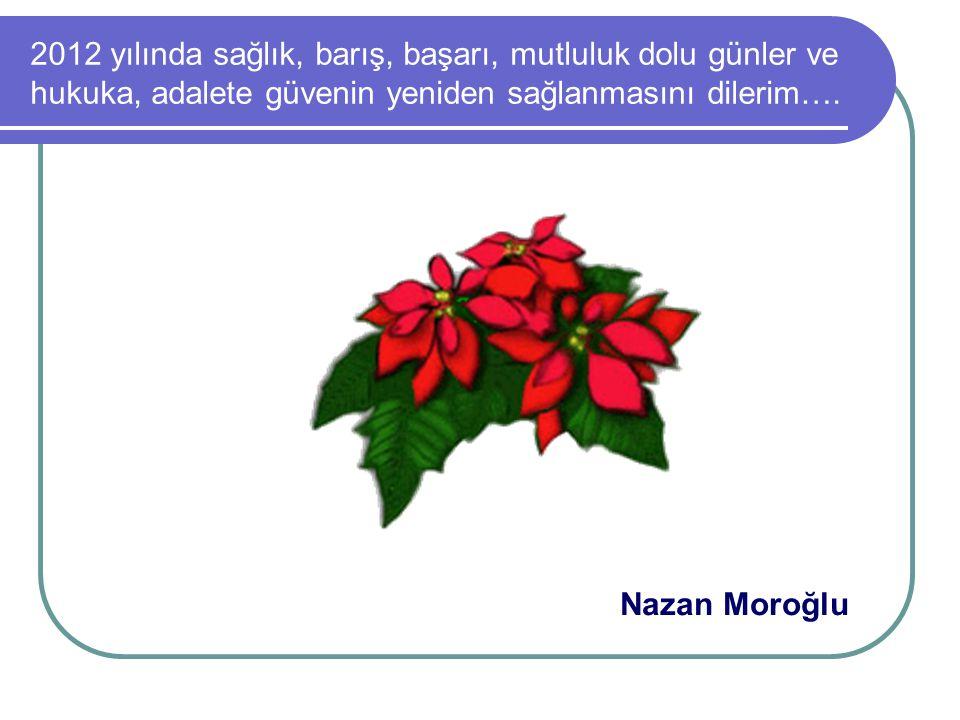 2012 yılında sağlık, barış, başarı, mutluluk dolu günler ve hukuka, adalete güvenin yeniden sağlanmasını dilerim….