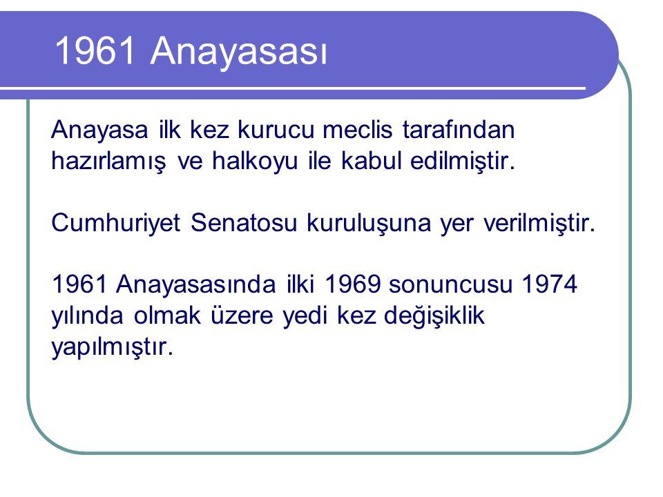 1961 Anayasası Anayasa ilk kez kurucu meclis tarafından