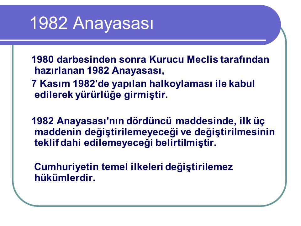 1982 Anayasası 1980 darbesinden sonra Kurucu Meclis tarafından hazırlanan 1982 Anayasası,