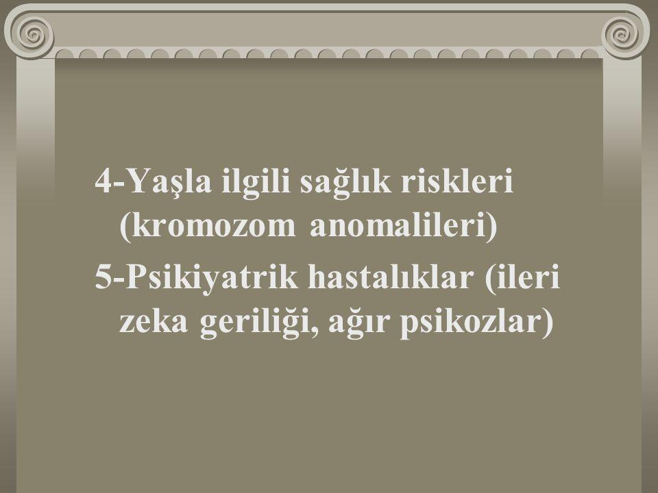 4-Yaşla ilgili sağlık riskleri (kromozom anomalileri)