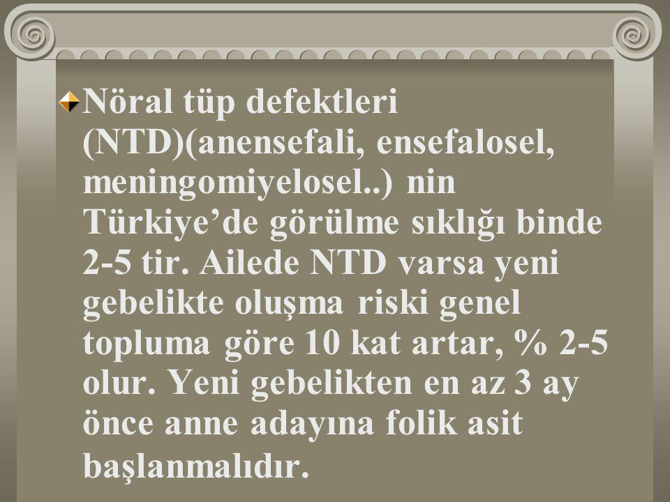 Nöral tüp defektleri (NTD)(anensefali, ensefalosel, meningomiyelosel