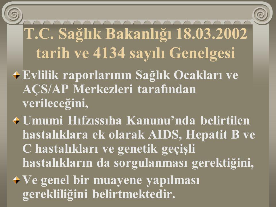 T.C. Sağlık Bakanlığı 18.03.2002 tarih ve 4134 sayılı Genelgesi