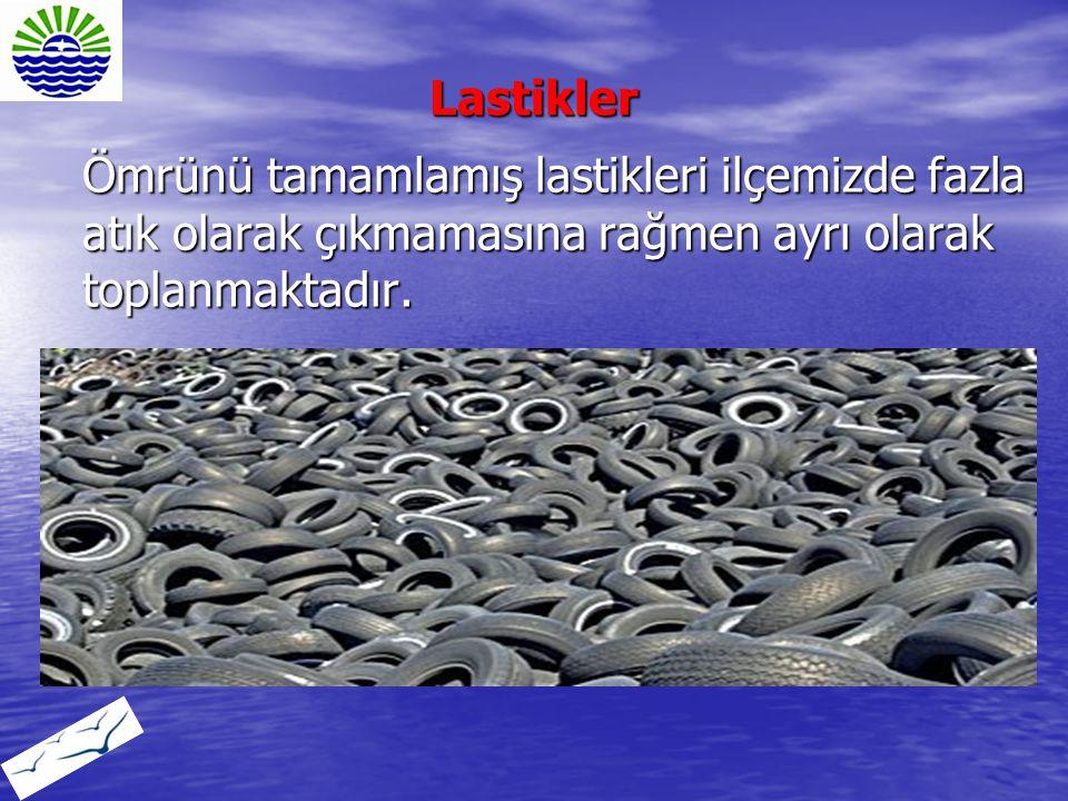 Lastikler Ömrünü tamamlamış lastikleri ilçemizde fazla atık olarak çıkmamasına rağmen ayrı olarak toplanmaktadır.