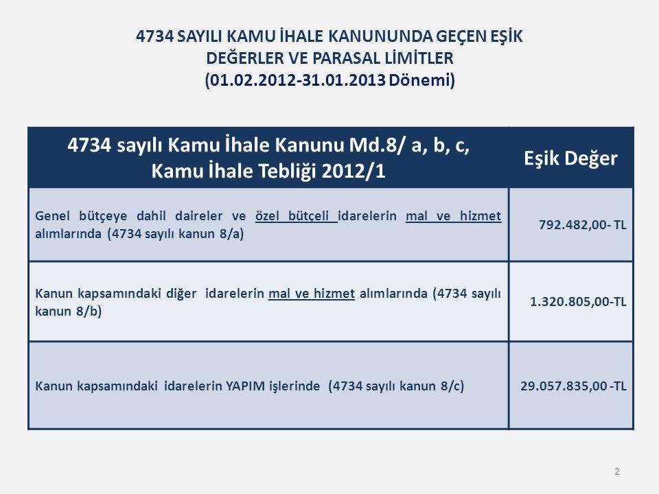 4734 sayılı Kamu İhale Kanunu Md.8/ a, b, c, Kamu İhale Tebliği 2012/1