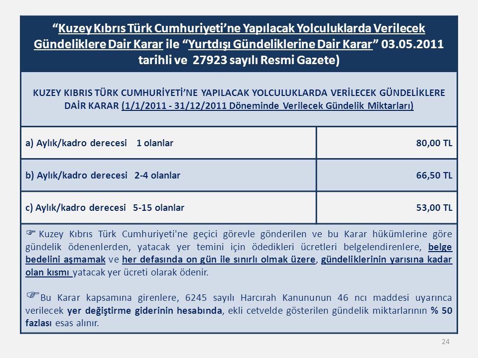 Kuzey Kıbrıs Türk Cumhuriyeti'ne Yapılacak Yolculuklarda Verilecek Gündeliklere Dair Karar ile Yurtdışı Gündeliklerine Dair Karar 03.05.2011 tarihli ve 27923 sayılı Resmi Gazete)