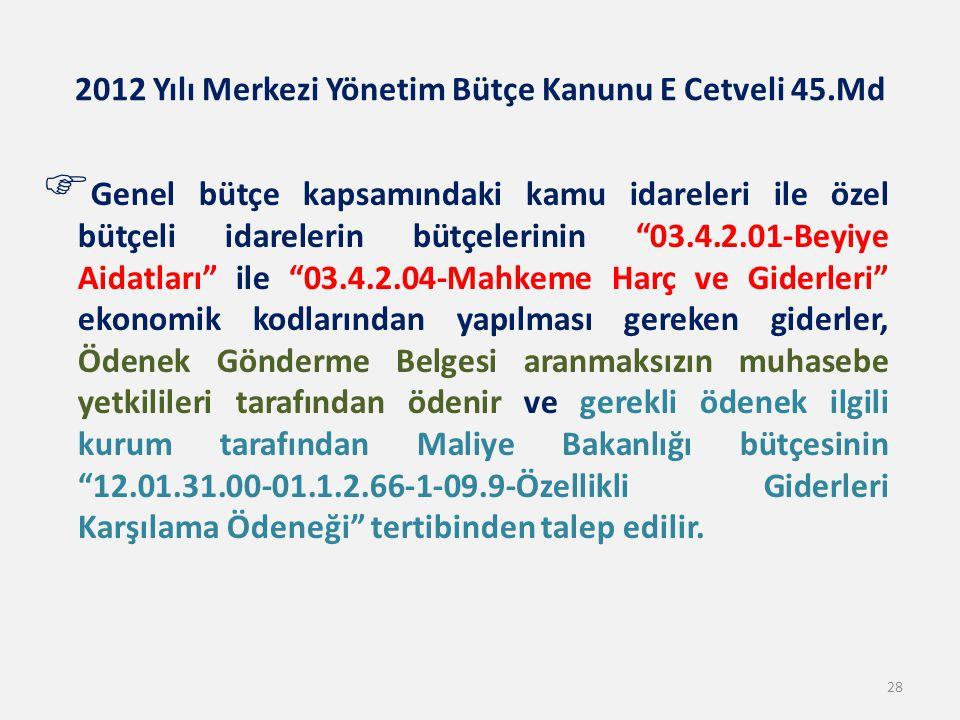 2012 Yılı Merkezi Yönetim Bütçe Kanunu E Cetveli 45.Md