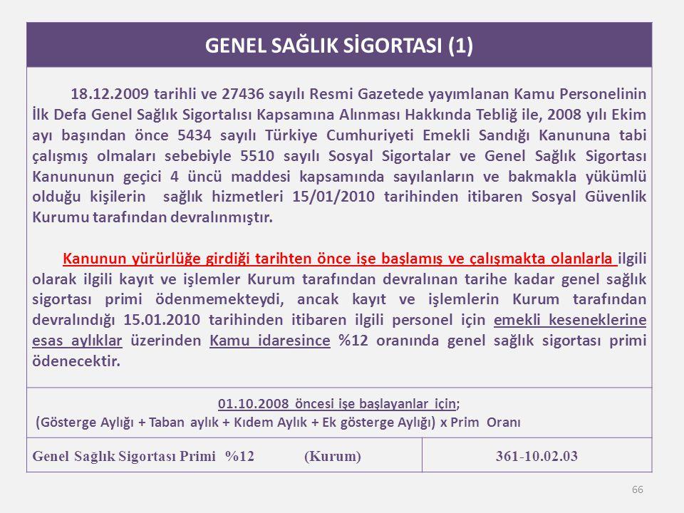GENEL SAĞLIK SİGORTASI (1) 01.10.2008 öncesi işe başlayanlar için;