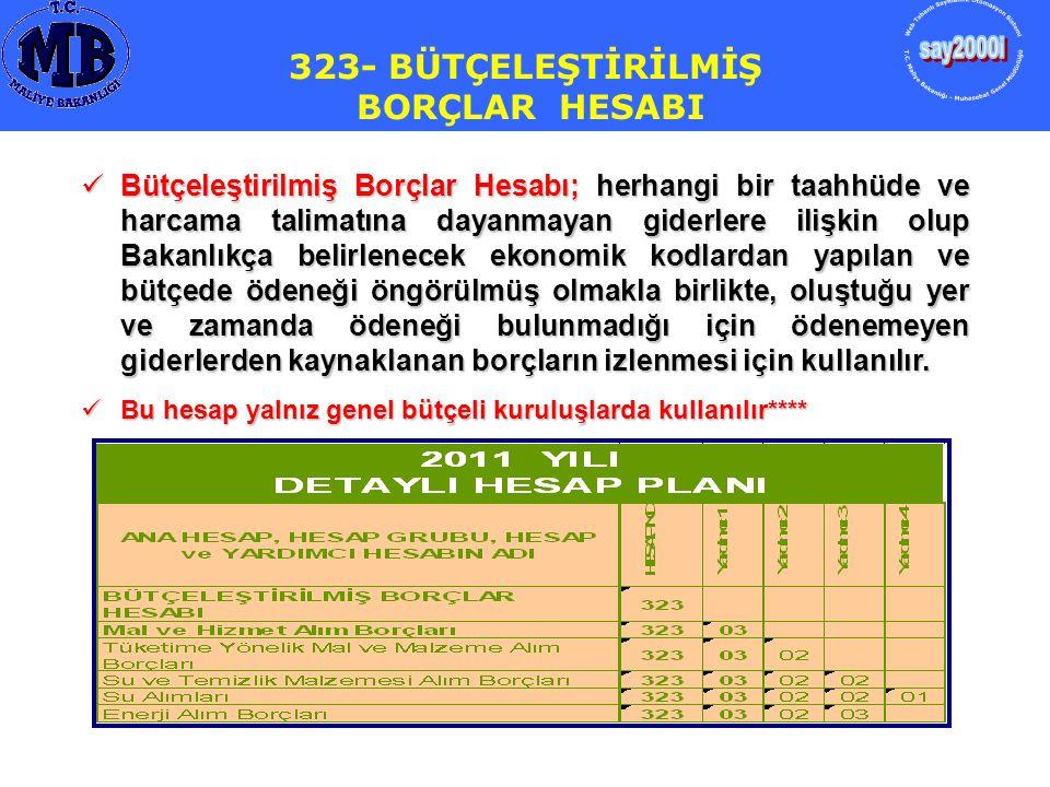 323- BÜTÇELEŞTİRİLMİŞ BORÇLAR HESABI