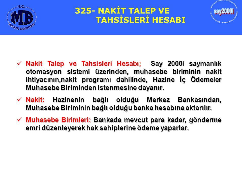 325- NAKİT TALEP VE TAHSİSLERİ HESABI