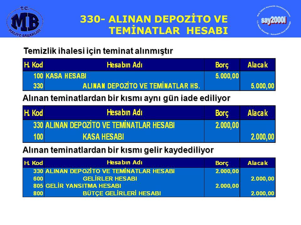 330- ALINAN DEPOZİTO VE TEMİNATLAR HESABI