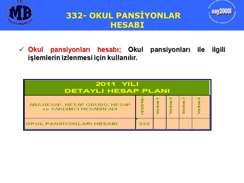 332- OKUL PANSİYONLAR HESABI