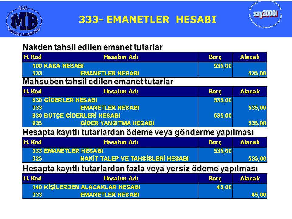 say2000i 333- EMANETLER HESABI 333- EMANETLER HESABI