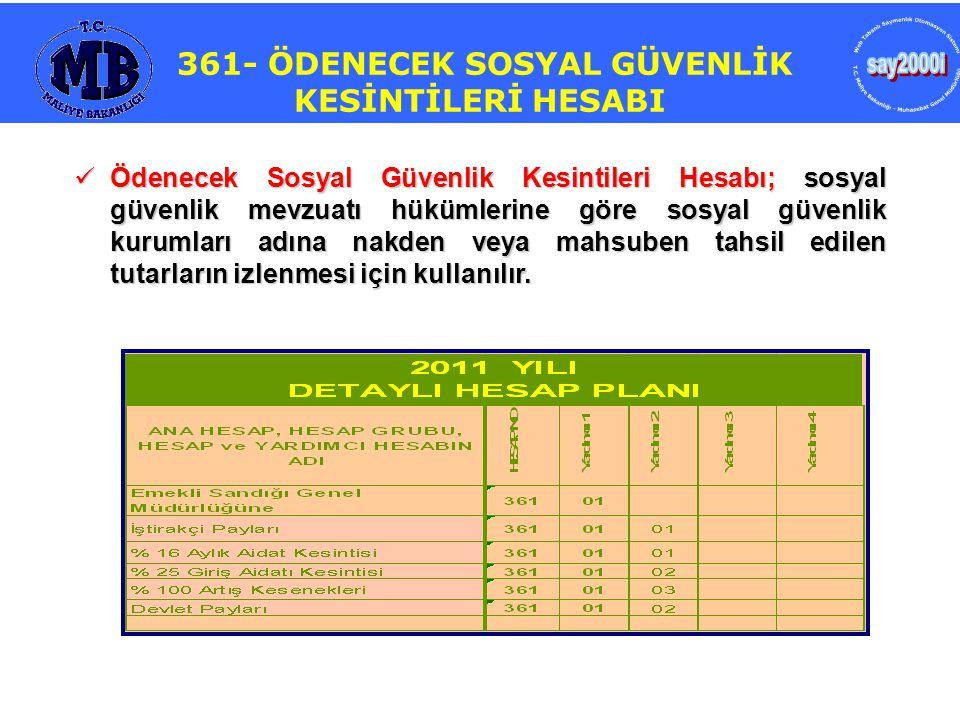 361- ÖDENECEK SOSYAL GÜVENLİK KESİNTİLERİ HESABI