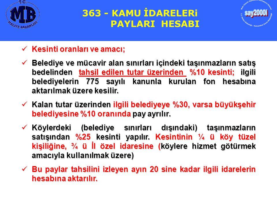 363 - KAMU İDARELERi PAYLARI HESABI