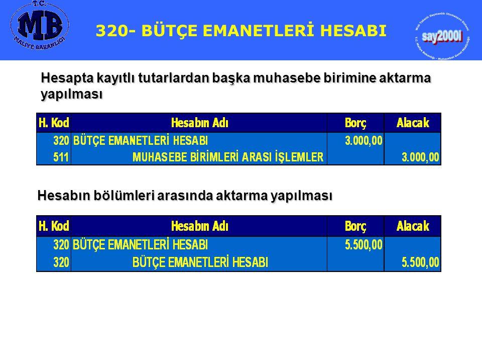 320- BÜTÇE EMANETLERİ HESABI 320- BÜTÇE EMANETLERİ HESABI