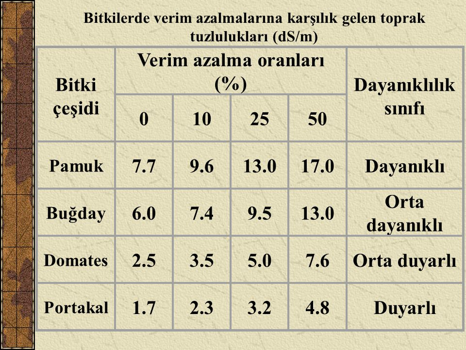 Verim azalma oranları (%)