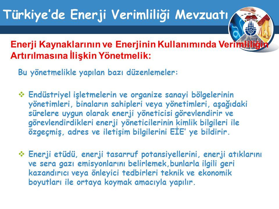 Enerji Kaynaklarının ve Enerjinin Kullanımında Verimliliğin Artırılmasına İlişkin Yönetmelik: