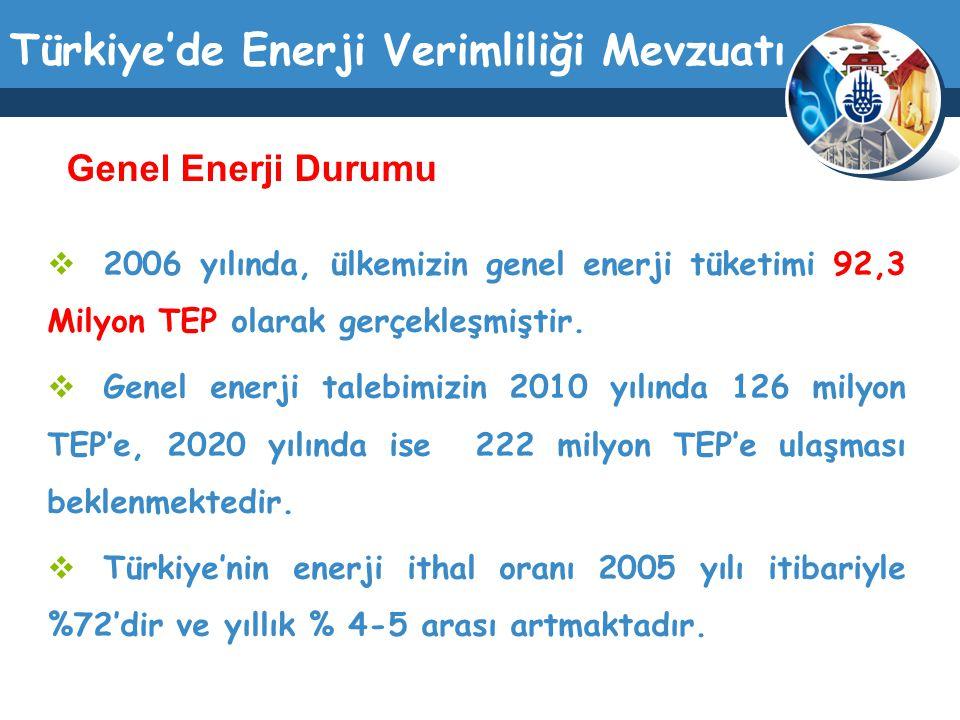 Genel Enerji Durumu 2006 yılında, ülkemizin genel enerji tüketimi 92,3 Milyon TEP olarak gerçekleşmiştir.