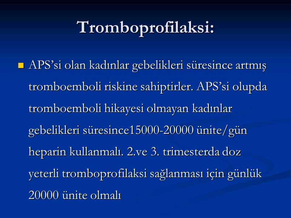 Tromboprofilaksi: