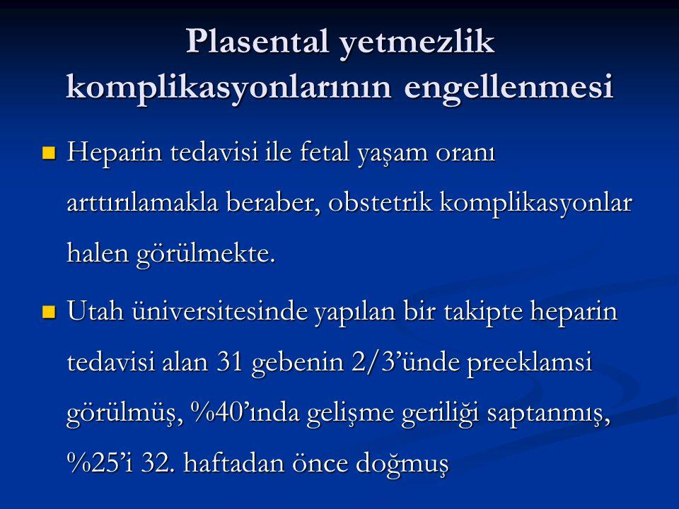 Plasental yetmezlik komplikasyonlarının engellenmesi