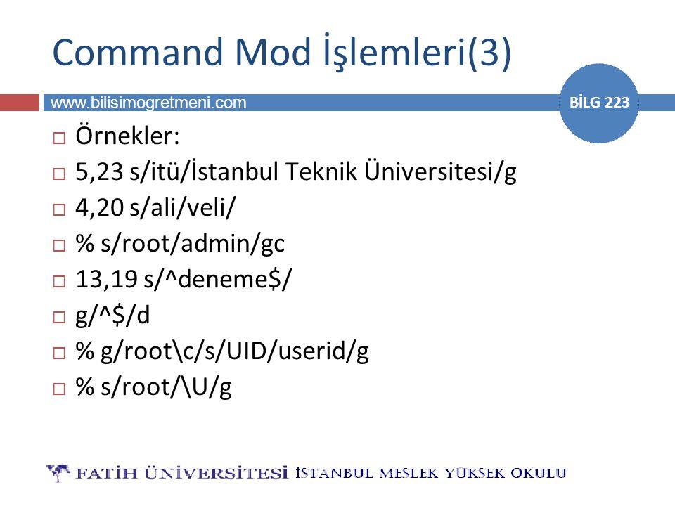 Command Mod İşlemleri(3)