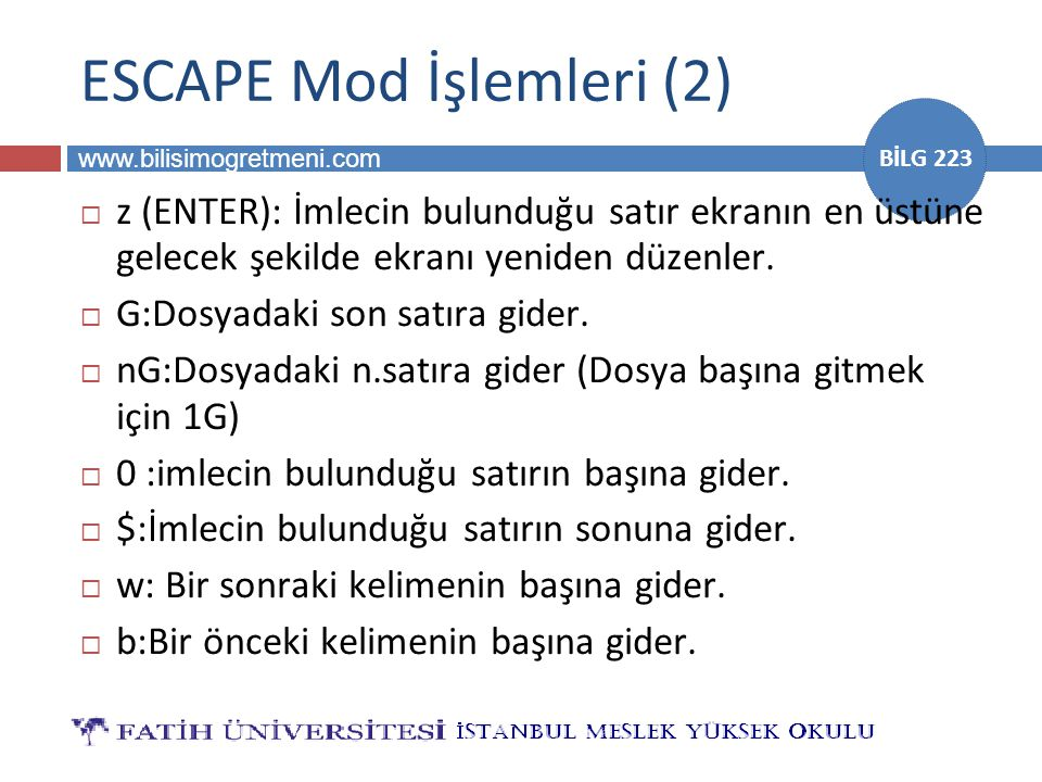 ESCAPE Mod İşlemleri (2)