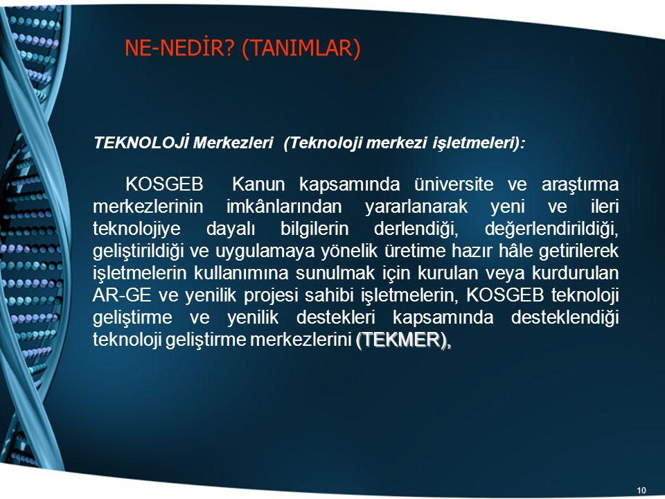 NE-NEDİR (TANIMLAR) TEKNOLOJİ Merkezleri (Teknoloji merkezi işletmeleri):