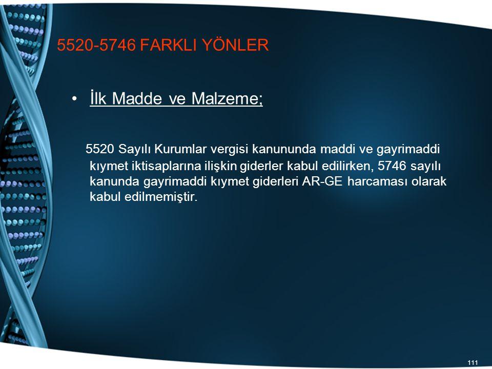 5520-5746 FARKLI YÖNLER İlk Madde ve Malzeme;