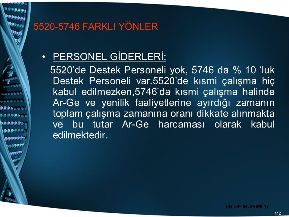 5520-5746 FARKLI YÖNLER PERSONEL GİDERLERİ;