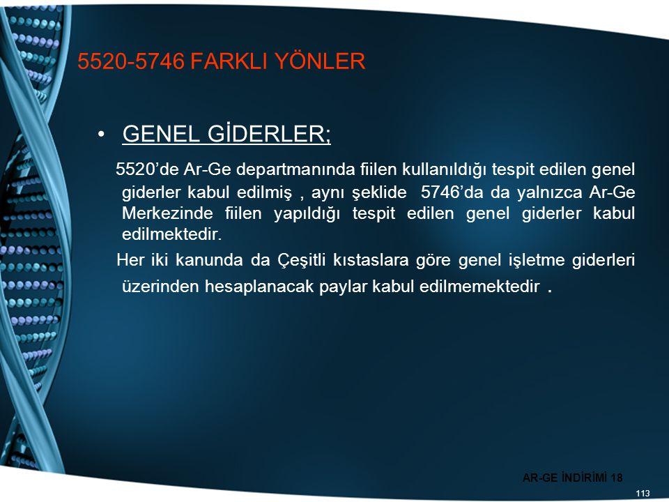 5520-5746 FARKLI YÖNLER GENEL GİDERLER;