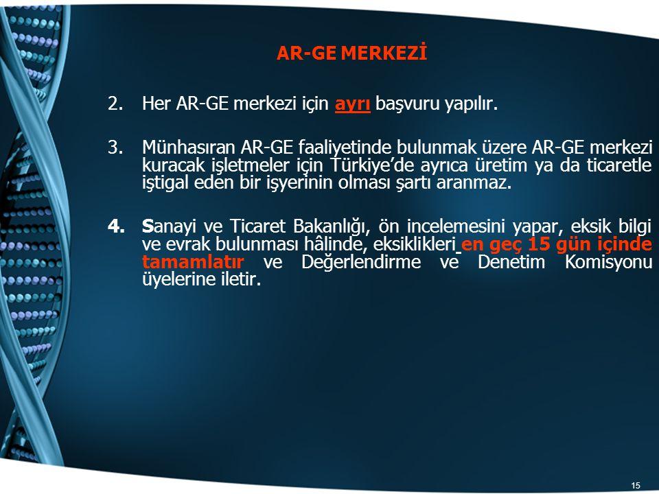 AR-GE MERKEZİ Her AR-GE merkezi için ayrı başvuru yapılır.