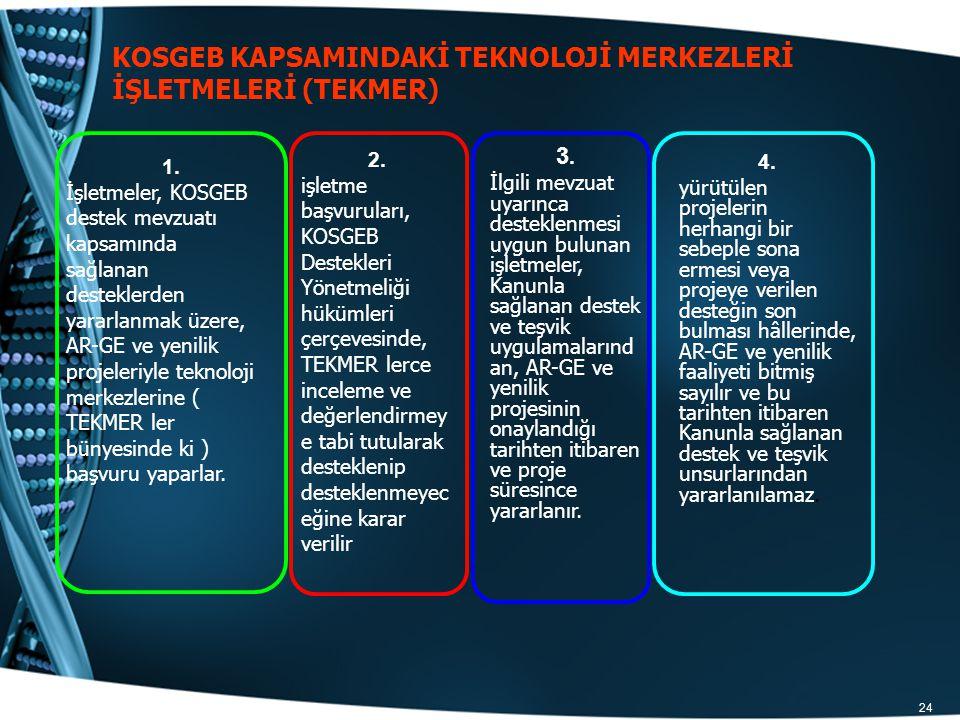 KOSGEB KAPSAMINDAKİ TEKNOLOJİ MERKEZLERİ İŞLETMELERİ (TEKMER)