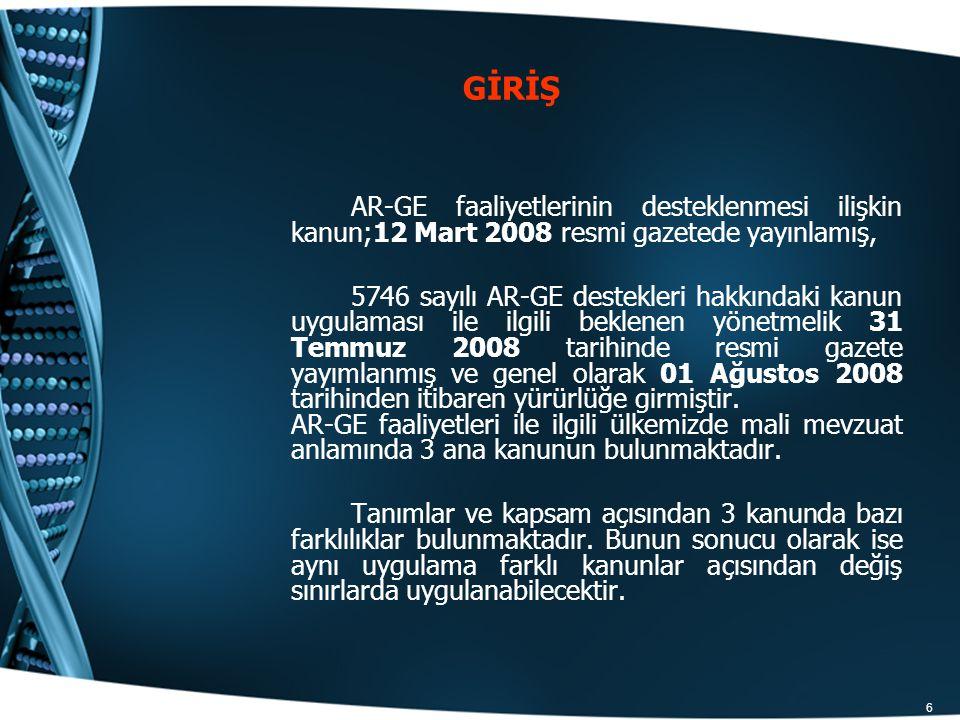 GİRİŞ AR-GE faaliyetlerinin desteklenmesi ilişkin kanun;12 Mart 2008 resmi gazetede yayınlamış,