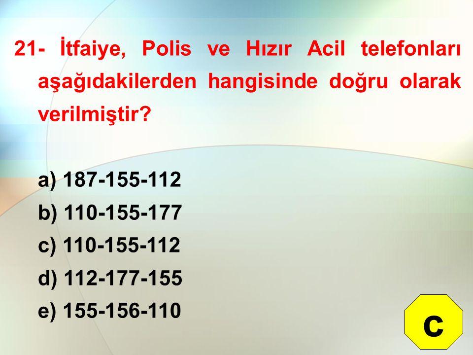 21- İtfaiye, Polis ve Hızır Acil telefonları aşağıdakilerden hangisinde doğru olarak verilmiştir